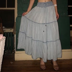 Blue Flowy Maxi skirt